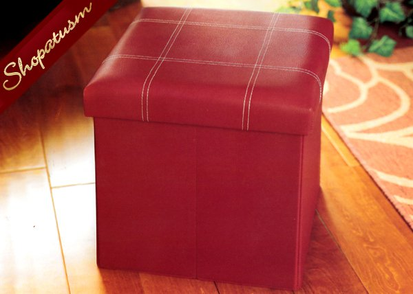 Red Foldable Hidden Storage Faux Leather Storage Ottoman
