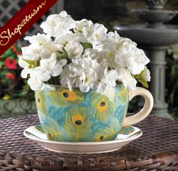 Large Royal Turquoise Peacock Feather Teacup Planter