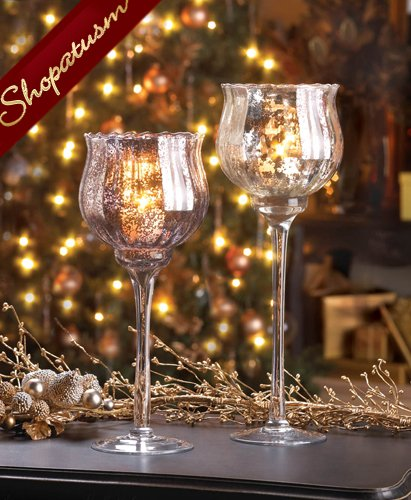 Elegant centerpiece small metallic silver speckled chalice