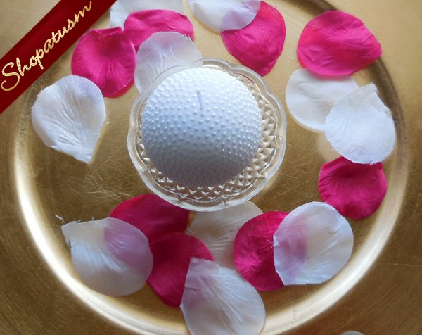 12 Elegant Snow White Round Pearl Candle with Glass Plate Centerpiece