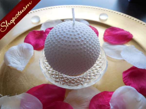 Image 1 of 12 Elegant Snow White Round Pearl Candle with Glass Plate Centerpiece
