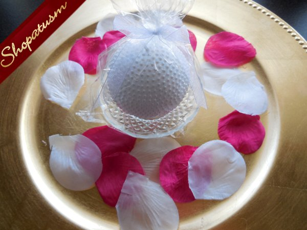 Image 2 of 12 Elegant Snow White Round Pearl Candle with Glass Plate Centerpiece