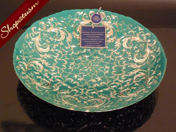 Turkey azzurra ornate green silver glass bowl for Artistic accents genuine silver decoration