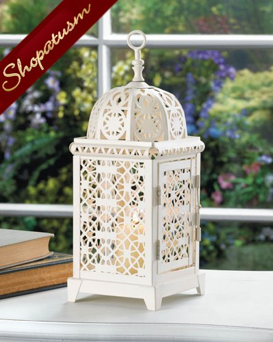 White Exotic Centerpiece Moroccan Intricate Lantern