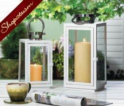 Large White Sleek Centerpiece Carson Candle Lantern