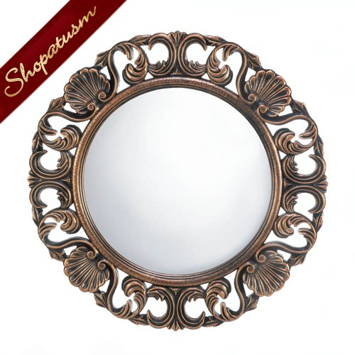 Ornate round wall mirror intricate design wood mirror for Round wood mirror