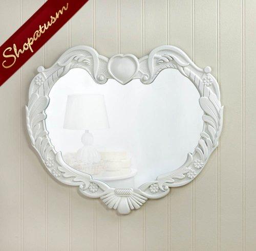Heart Shaped White Wood Angel Wings Wall Mirror