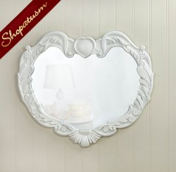 Heart Shaped White Wood Angel Wings Wall Mirror