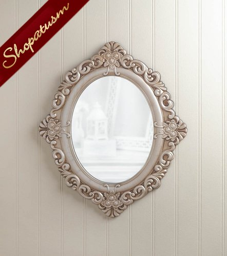Antique Style Oval Intricate Wood Frame Wall Mirror