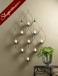 Artistic Curved Iron Frame Wall Decor Candle Holder