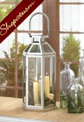 Dramatic Steel Cable Centerpiece Geometric Silver Candle Lantern