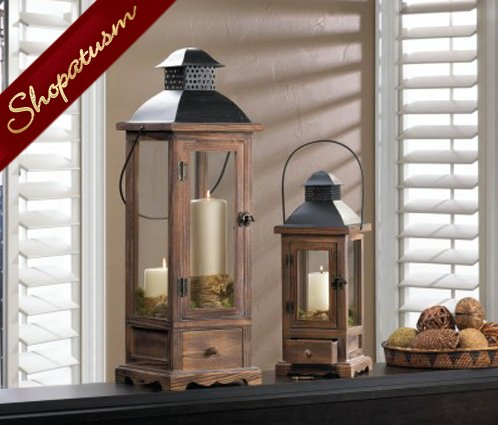 Image 1 of Rustic Pine Wood Centerpiece Small Wood Candle Lantern
