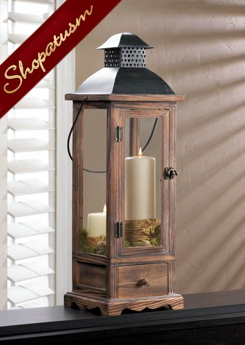Image 1 of  Rustic Pine Wood Centerpiece Large Wood Candle Lantern