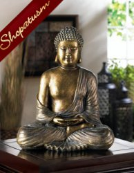 Buddha Statue Sitting Lotus Metallic Bronze Meditation Statue