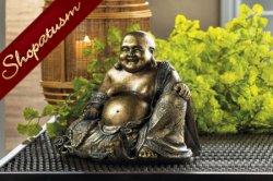 Metallic Bronze Smiling Buddha Polyresin Statue