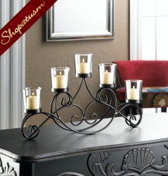 Black Iron Dynasty Centerpiece Mantel Candelabra