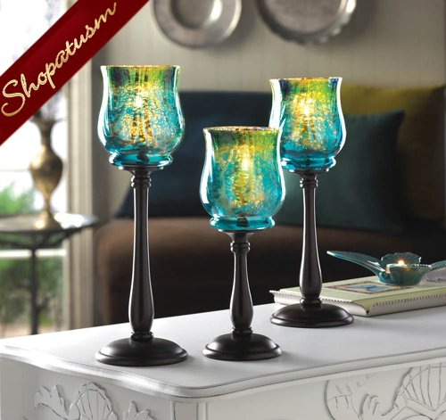Elegant glass centerpiece iridescent candle holder set