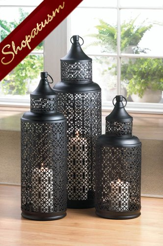 Wholesale lanterns black medium tower