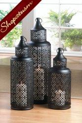 Dramatic Black Candle Lantern Tower Medium Wedding Centerpiece