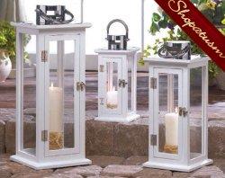 24 Candle Lanterns Medium Aspen Wedding Centerpieces Wholesale White Wood