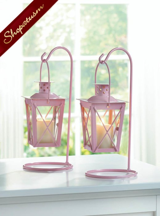 Pink Centerpiece Railroad Hanging Candle Lanterns Set of Two