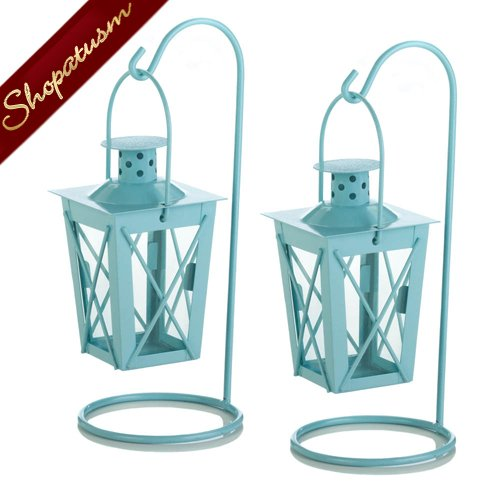 36 x 2 Wedding Centerpieces Wholesale Blue Hanging Candle Lanterns