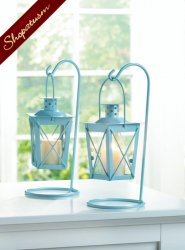 Blue Centerpiece Railroad Hanging Candle Lanterns Set of Two