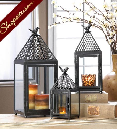 Large Shabby Distressed Centerpiece Black Bird Candle Lantern