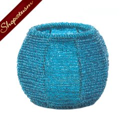 Party Candle Holder Sky Blue Beaded Wire Centerpiece