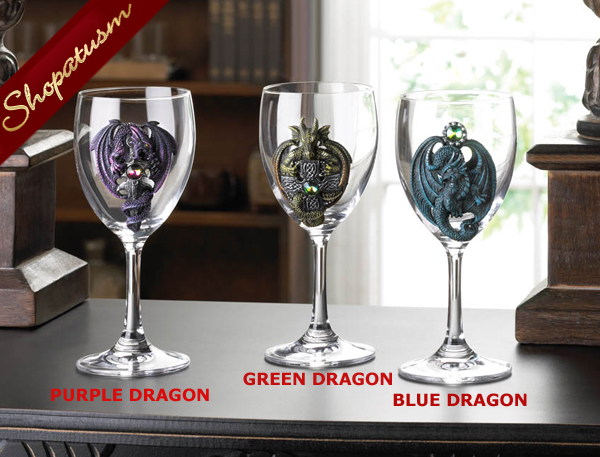 Wine Goblet, Blue Dragon Goblet, Decorative Glass Wine Goblet, Medieval Goblet