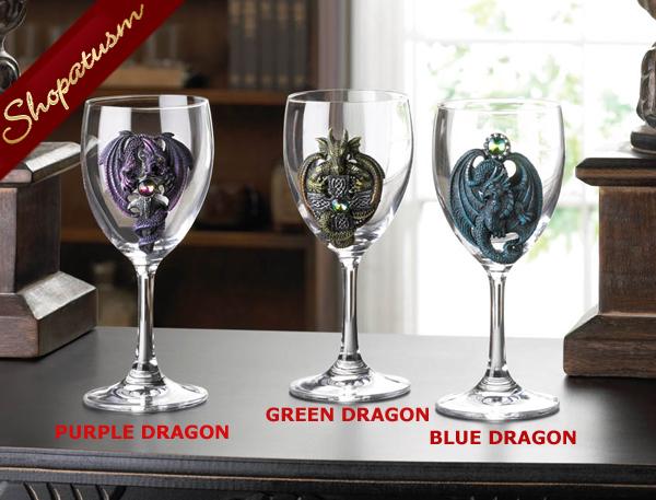 Wine Goblet, Blue Dragon Goblet, Decorative Glass Wine Goblet, Medieval Goblet