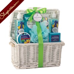 Bath Gift Basket, Spa Gift Basket Bath Set, Blueberry & Sunflower Gift Basket
