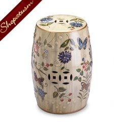 Butterfly Garden Ceramic Stool Indoor or Outdoor Plant Stand