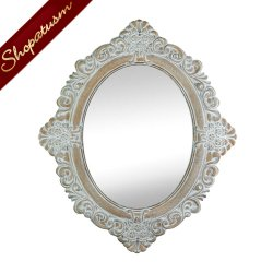 Vintage Style Elegant Carving Distressed Ornate Wall Mirror