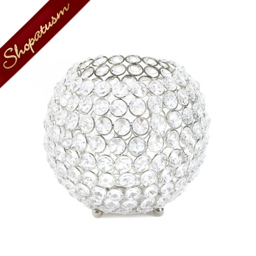 Silver Shimmer Globe Candle Holder Faceted Crystals Wedding Centerpiece