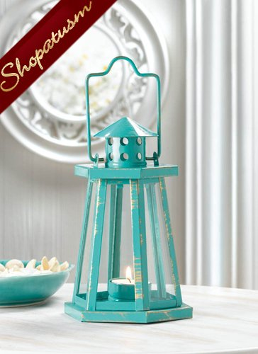 48 Wholesale Shabby Distressed Centerpieces Aqua Lighthouse Candle Lanterns