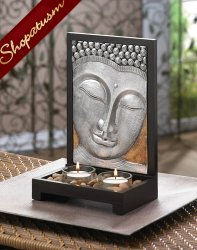 Buddha Plaque Sacred Space Candle Holder Wood Frame Centerpiece