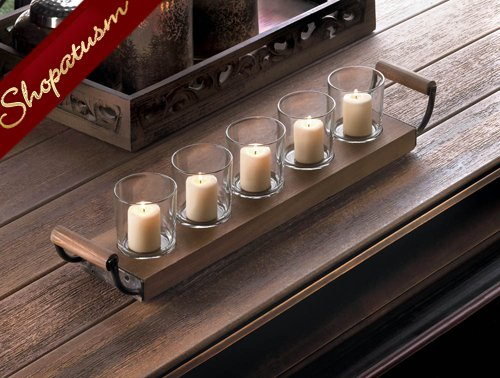 Wood Centerpiece Wooden Tray Votive Candle Holder