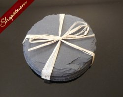 4 Beautiful Rustic Black Slate Round Coaster Set of Four Slate Round Slabs Disc