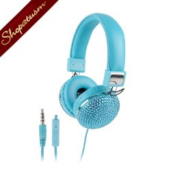 Bling Padded Headphones Aqua Blue with Rhinestones