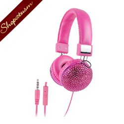 Bling Padded Headphones Pink Rhinestones