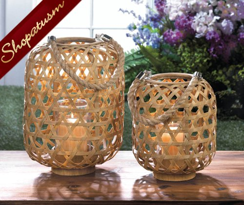 24 Wholesale Exotic Seaside Style Centerpieces Large Bamboo Woven Lanterns