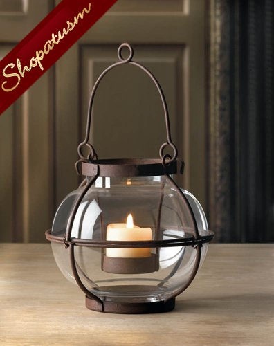 24 Wholesale Small Rustic Metal Centerpieces Glass Orb Candle Lanterns