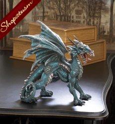 Medieval Fierce Dragon Statue Sculpture Wings Spread