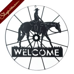 Western Inspired Metal Welcome Wheel Sign Wall Decor
