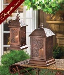 Exotic Metal Candle Lantern Small Bronze Wedding Centerpiece