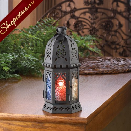 Ornate Candle Lantern Enchanted Rainbow Wedding Centerpiece