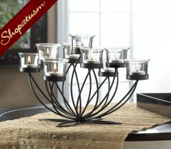 Dramatic Centerpiece Black Iron Bloom Candelabra
