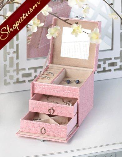 Stylish Pink Faux Snakeskin Jewelry Box