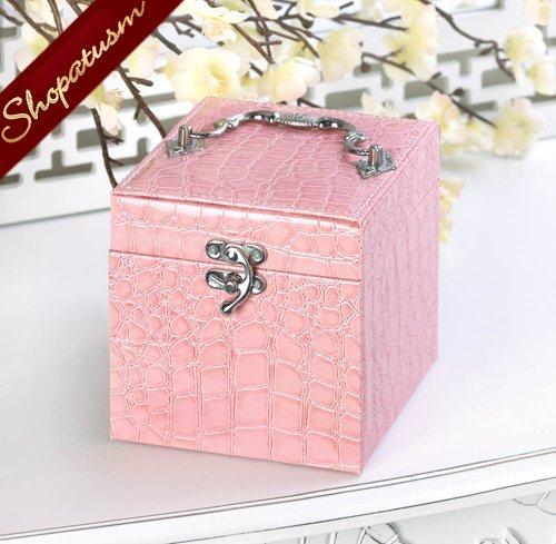 Image 1 of Stylish Pink Faux Snakeskin Jewelry Box